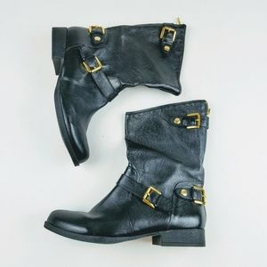 Steve Madden Enngage Leather Moto Boots Size 11